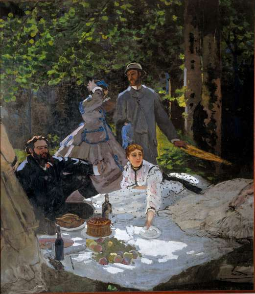 "The breakfast on the grass (portrait of Frederic Bazille (1841-1870) in the center, Camille Doncieux (1847-1879) and Gustave Courbet (1819-1877) on the left), 1865-1866, Dim: 218 x 249 cm, Oil On Canvas by Claude Monet (1840-1926), Paris, Musee d'Orsay - """" Luncheon the Grassy)"", 1865-1866, Frederic Bazille (center), Camille Doncieux and Gustave Curve (left), Oil on canvas by Claude Monet (1840-1926), Paris, Musee d'Orsay"