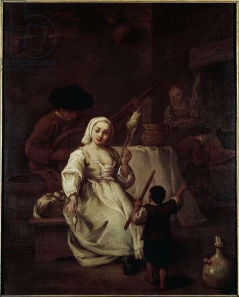 The Spinner - Painting by Pietro Longhi (1702-1785), oil on canvas, 69x49 cm, circa 1750. Venezia, Fondazione Querini Stampalia