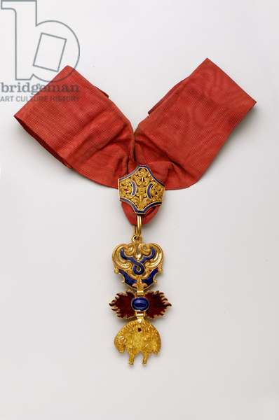 Order of the Golden Fleece: Spanish Golden Fleece - Insignia belonging to Francois Guizot (1787-1874) - 1800-1850 - Gold and Emaux - H: 8.2 cm; W: 4 cm; Weight: 72 g - Private collection