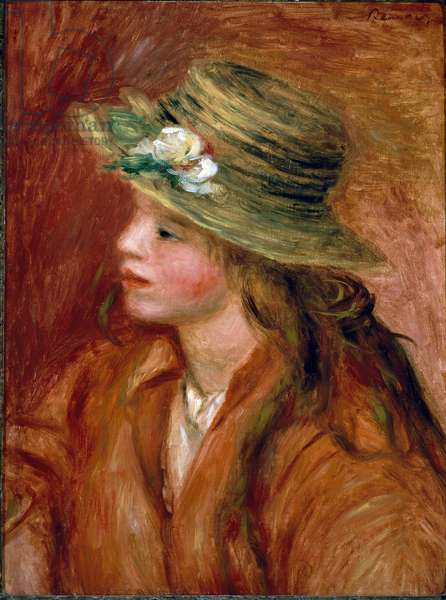 Girl in a straw hat. Painting by Pierre Auguste Renoir (Pierre-Auguste, 1841-1919) 1908 Oil on canvas. Size: 46x35cm Paris, Musee d'Orsay