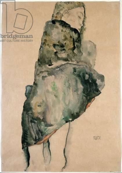Portrait of a Woman in Stand. Drawing by Egon Schiele (1890-1918). New York, Museum of Modern Art