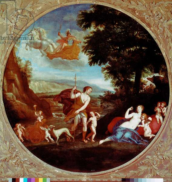 Venus and Adonis Painting by Francesco Albani (1578-1660) said the Albanian 17th century Rome, Galleria Borghese