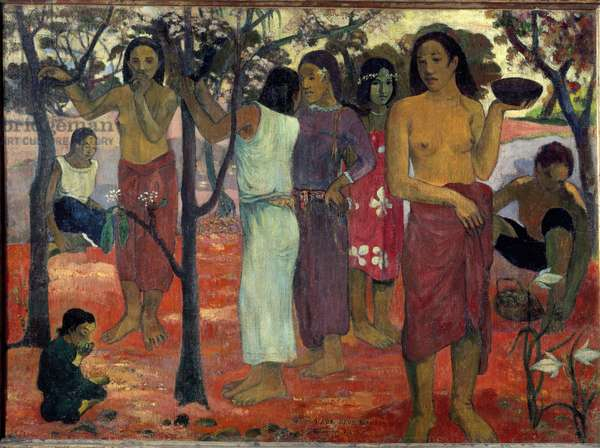 Nave Nave Mahana, (Delicious Days). Painting by Paul Gauguin (1848-1903) 1896. Oil on canvas. Dim: 95x130cm. Lyon, Museum of Fine Arts
