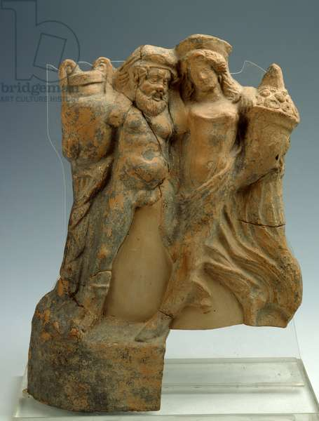 Pinax with maenad and satyr, reassembled and fragmentary, from Metaponto Apollo Licio sanctuary, votive offerings, sacellum E