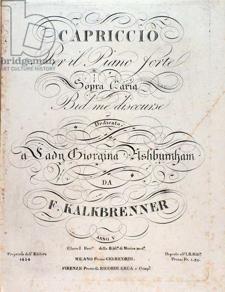 """Title page of the sheet music for """""""" Capriccio"""""""" by Friedrich Kalkbrenner (1785-1849), composer and pianist - Title page of musical score of """""""" Capriccio"""""""" by F Kalkbrenner - 19th century Private collection"""