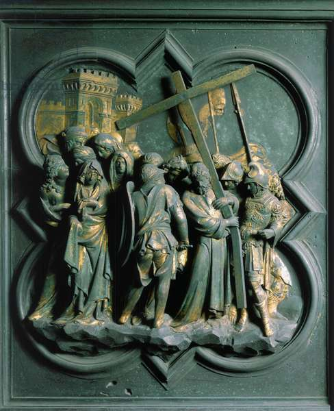 """Porte Nord (called Porte de la Croix, in the North), exterior detail: """"The Montee to Calvary"""""""" Bronze sculpture made by Lorenzo Ghiberti (1378-1455), 1424. Baptistere San Giovanni, Florence"""