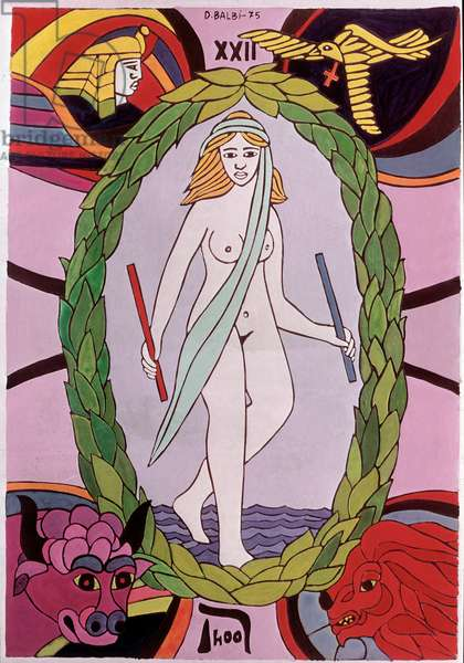 Divinatory tarot (or tarot de Marseille): XXII map of the World - (Divinatory, esoteric and occult tarot: the World) Drawing by Domenico Balbi (1927-2005) 1975 Private collection