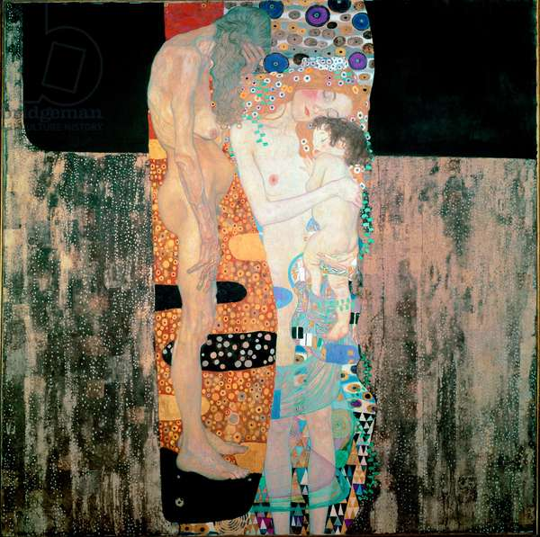 The Three Ages of the Woman Painting by Gustav Klimt (1862-1918) 1905 Dim. 180x180 cm Rome, Galleria Nazionale d'Arte Moderna