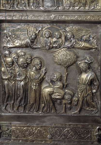 Silver Altar of Saint James the Major (Altare argenteo di San Jacopo or Silvered altar of St James) Detail of the antependium decore d'episodes du new testament (the martyrdom of Saint James the Major) realized by Andrea di Jacopo d'Ognabene (1316) (Front section with stories of new testament, martyrdom of St James) 1287-1456 Chapel of the Crucifix, Cathedrale San Zeno (Duomo) of Pistoia Italy