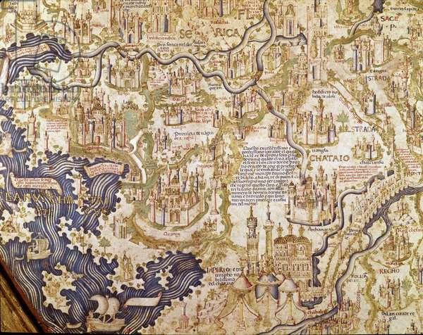 View of China (Cambaluc, now Beijing) Detail of the world map (mappamundi) of brother Maurus (Mauro) Camaldolese 1459 (map)
