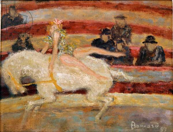 L'ecuyere Aerobatic Show on horseback in a circus. Painting by Pierre Bonnard (1867-1947) 1897 Aix-les-Bains, Musee