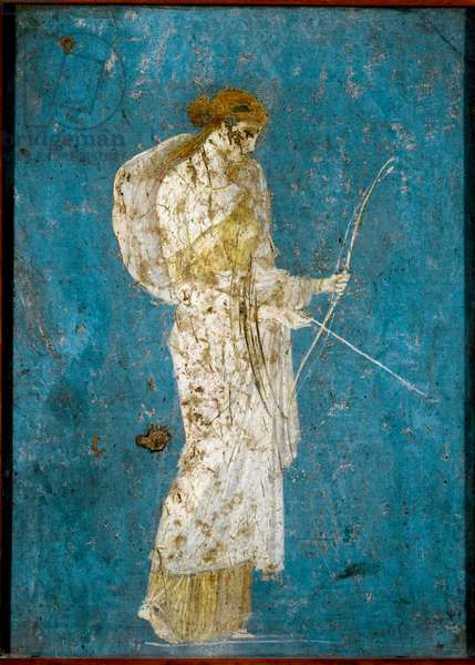 Diana with her bow and arrow - Roman fresco, (1st cent. BC-1st cent. AD), from Villa di Arianna, in Stabia, Italy - Roman Art: Diana with a bow and arrow - Roman fresco from the site of Castellammare di Stabia near Naples, 1st century BC-1st century AD - Conservated at the National Archaeological Museum of Naples
