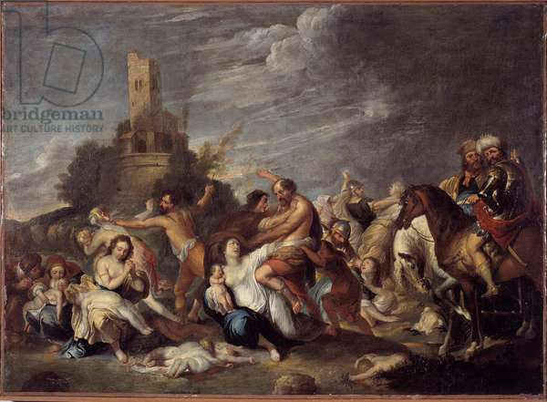 The Massacre of the Innocents Painting by Vincent Malo (ca. 1600-1650) 1634 From the Oratory San Silvestro, Genes Musei di Strada Nuova (ex Palazzo Bianco) genes