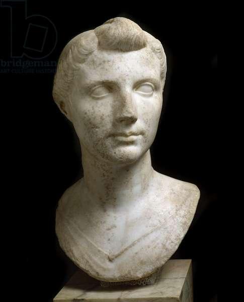 "Roman Art: """" Bust of Octavia Thurina Minor (Ottavia Minore or Octavia the Young) (69 BC-11 BC)"""" Marble sculpture. Rome, Museo Nazionale Romano (o delle Terme)"