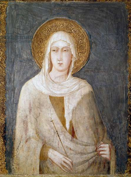 Saint Margarita of Antioch (formerly known as St. Clair) Fresco by Simone Martini Dim. 120 cm. Around 1322. Assisi (Assisi), lower basilica of San Francesco (Saint Francois), right transept. Italy ©Luisa Ricciarini/Leemage