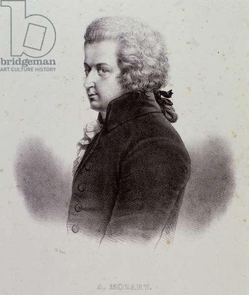 Portrait of Austrian composer Wolfgang Amadeus Mozart (1756-1791) Engraving. 19th century. Milanese private collection