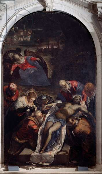 The Deposition at the Sepulchre Painting by Tintoretto (Jacopo Robusti) (Tintoret) (1518-1594) 1593-1594 Dim 288x166 cm Venice, Church of St. George (chiesa di san Giorgio) Italy