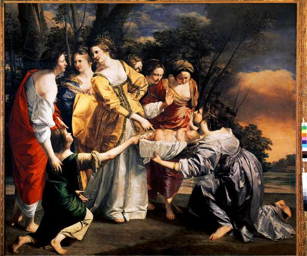 Moses saves the waters of the Nile. Painting by Orazio Lomi Gentileschi (1565-1638). 1636. Prado Museum, Madrid