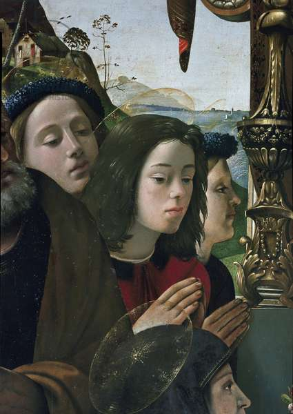 Virgin and Child on the throne surrounded by saints Painting by Piero di Cosimo (1462-1521) circa 1493 Dim 203 x 197 cm. Detail, Florence,