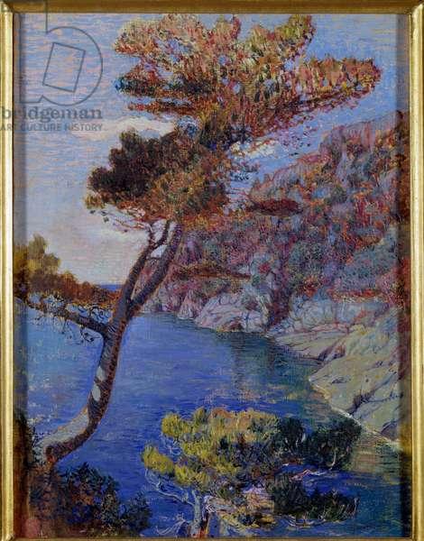 View on Portofino, Italy Painting by Rubaldo Merello (1872-1922) Dim 60x46 cm Genes, Galleria d'Arte Moderna, inv 0048