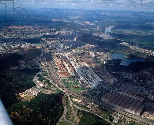 Air view of the steel plants Usiminas a Ipatinga, Minas gerais, Brazil - Aerial view of Usiminas steel plant in Ipatinga, Minas gerais, Brazil, 1983 - Photography