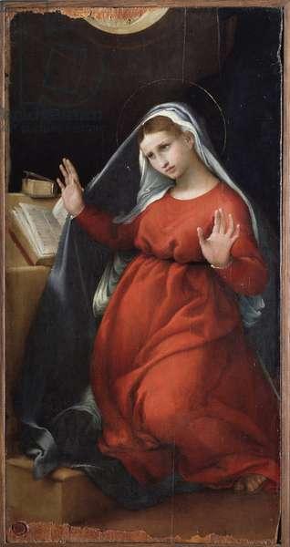 Virgin of Annunciation Painting by Lorenzo Lotto (1480-1556) 1526-1527 Dim 82x42 cm Jesi, Pinacoteca Civica Italy