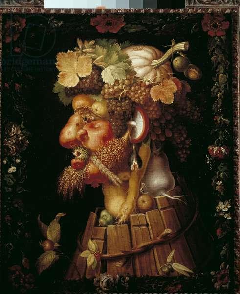 "Allegory of the Four Seasons: """" Autumn"""" Painting by Giuseppe Arcimboldo (1527-1593) 16th century Sun. 0,76x0,63 m Paris, Musee du Louvre - Autumn. Painting by Giuseppe Arcimboldo (1527-1593), 16th century. 0.76 x 0.63 m. Louvre Museum, Paris"