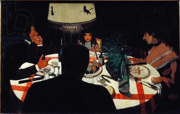 Dinner, lamp effect. (1899. Oil on wood)