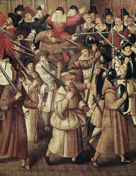 French Wars of Religion: armed procession of The Catholic League of France in the streets of Paris, 1593 (Detail Painting, 1593)