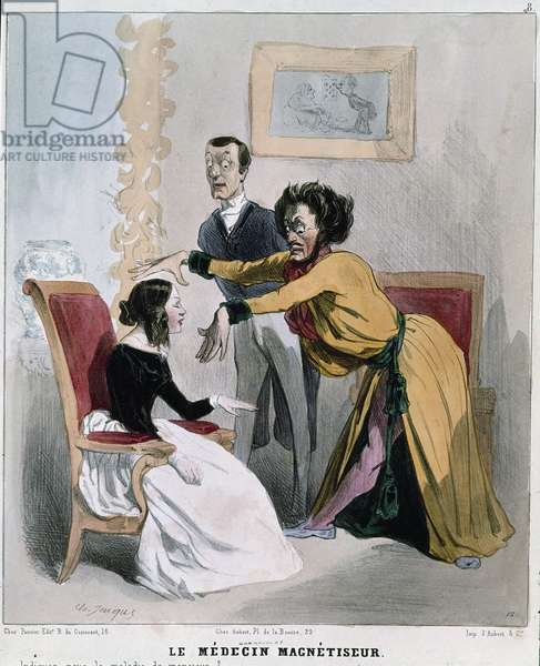 "Serie """" sick and doctors"""": the magnetist doctor. Cartoon of a hypnotist in the midst of hypnosis about a patient. Engraving by Charles Jacques, 1843. Carnavalet Museum"