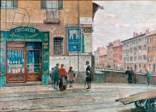 Milan, view from the bridge of Porta Vittoria. 1917 (watercolour)