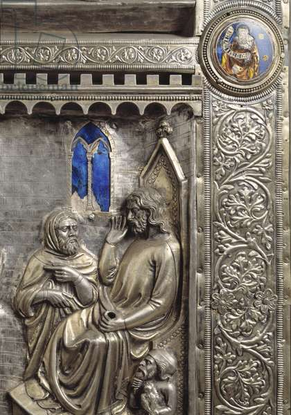 Silver Altar of Saint James the Major (Altare argenteo di San Jacopo or Silvered altar of St James) Detail of the lateral antependium decorore of episodes of the life of Saint James (Saint James before Herode Agrippa) realized by Francesco di Niccolo (active 1361-1371) and Leonardo di Ser Giovanni (active around 1358-1371), 1364 (side antependia with stories of st James, st James before Herod Agrippa) Chapel of the Crucifix (1287-1456), Cathedrale San Zeno (Duomo) of Pistoia Italy