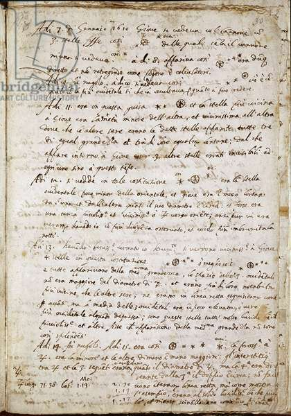 """Page of """""""" Sidereus Nuncius"""""""" in which Galilee names the four stars as Medicea Sidera or Pianeti Medicei (Planetes mediceennes): manuscript by the Italian astronomer and physicist Galileo Galilei dit Galilee (1564-1642) wrote for Cosimo de Medicis (Cosimo II de 'Medici) where he exhibits his discovery of satellites of Jupiter used successively 1610 Florence, Biblioteca nazionale - Page of """""""" Sidereus Nuncius"""""""""""", in which the Italian astronomer and physicist Galileo exposes his discovery of the four satellites of Jupiter, the Medicean Planets, successively used to confirm his thesis of heliocentrism. Manuscript by Galileo Galilei called Galileo (1564-1642), written for Cosimo de Medici, 1610. Florence, Biblioteca Nazionale"""