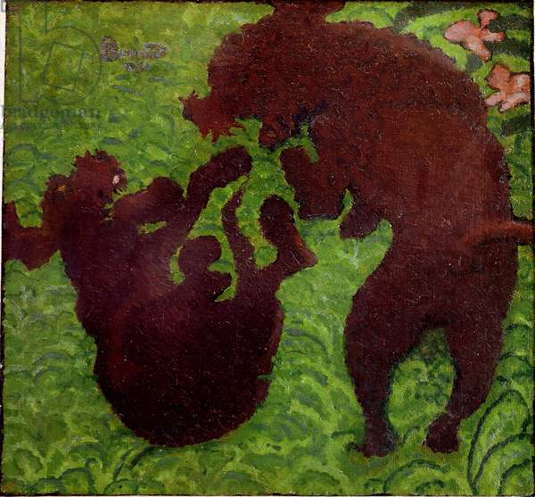 The partridge Two dogs playing in the grass. Painting by Pierre Bonnard (1867-1947) Private Collection