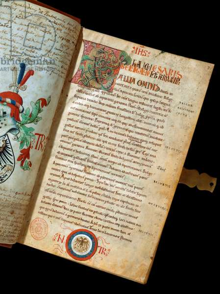 """Manuscript """""""" De Bello Gallico, Comments on the War of the Gauls"""""""" by Jules Cesar (Giulio Cesare or Caius Julius Caesar) (100-44 BC) (ms. 541) Blazon of humanist Niccolo Tranchedini, owner of the manuscript. 14th century Biblioteca Riccardiana Naples"""