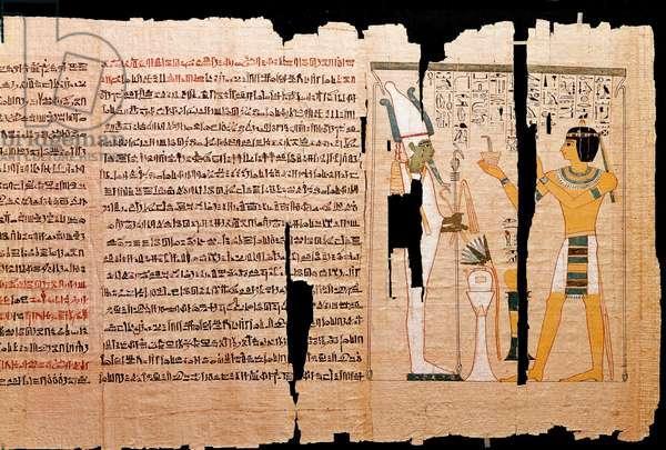 Egyptian antiquite: fragment of papyrus depicting the looting of tombs (tomb robberies) dating from the 20th dynasty. 1175 BC London, british museum