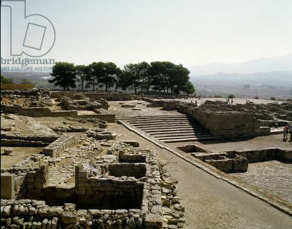 Minoan civilization: view of the ruins of Phaistos, 2700-1200 BC, Crete (Minoan civilization: view of Phaistos (Phaestos, Festos and Latin Phaestus) 2700-1200 BC, Crete), Greece