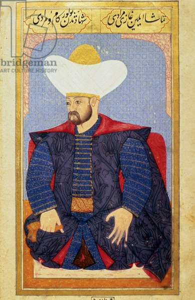 """Portrait of the Sultan of the Ottoman Empire Murad I (1326-1389) Miniature from the manuscript """""""" Human physiognomy (About personal arrangements of the Ottomans) by Seyyid Lokman Hussein. (Ms. ty6087 folio 27b), 1579. University Library Istanbul"""