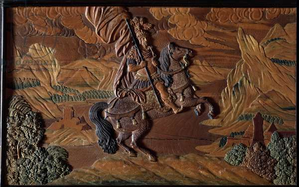Cavalier Relief detail carved by Karl Haberstumpf (1656-1724) and son - detail of a wooden cabinet, made for Emperor Charles VI of the Holy Empire in 1723 in Eger, Czech Republic - (Rider, detail of relief carved by Karl Haberstumpf (1656-1724) and son in 1723 for emperor Charles VI) Austrian Museum Of Applied Arts Vienna