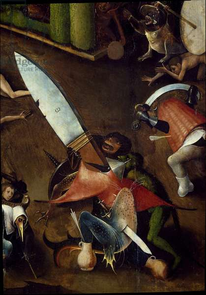 Tryptic of the Last Judgement: central panel. Detail of monstrous animals. (Painting on wood, c.1504)