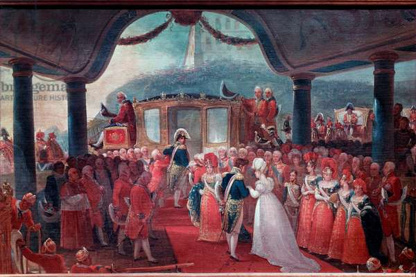 The arrival of Maria Leopoldina of Austria in Rio de Janeiro in 1817, to marry Emperor Pedro I of Brazil. They are accompanied by King Joao VI of Portugal and his wife, Carlota Joaquina of Spain. 19th century (Painting)