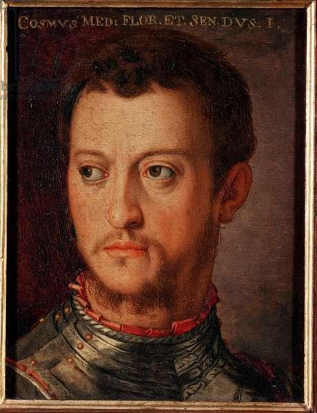 Portrait of Cosimo (Come) I of Medici (Cosimo I de Medici, 1519-1574) Grand Duke of Tuscany Painting by Allori Angelo di Cosimo dit Bronzino (1503-1572) 16th century Dim 15x12 cm Palace Medici-Riccardi (Medici Riccardi) Florence