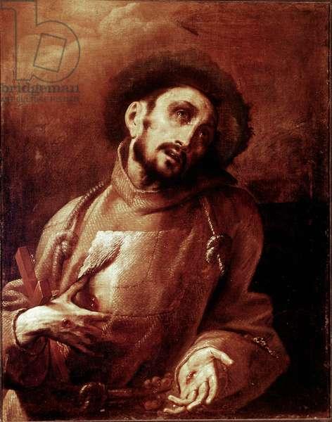 Saint Francois of Assisi in ecstasy Painting by Giovan (Giovanni) Battista Crespi dit Il Cerano (ca. 1575-1632) Dim. 93,5x74 cm Milan, Pinacoteca di Brera