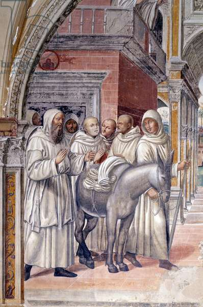 Florent sent prostitutes to the monastery (Florenzo sends courtesans to the monastery of st Benedict) Detail fresco of the cloitre realised by Antonio Bazzi dit il Sodoma (1477 - 1549) recounting the life of Saint Benedict (480 - 567) founder of the Order of Benedictine 1503 - 1508 Abbey of Monte Oliveto Maggiore, Florence