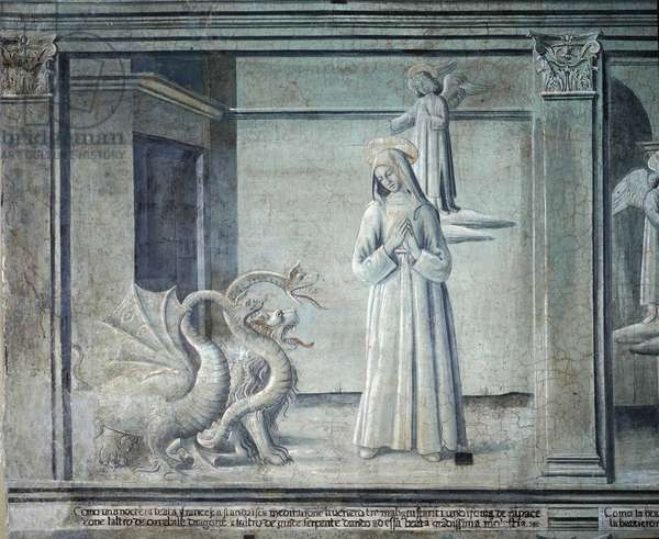 Vie de sainte Francoise Romaine, poursuivie par les demons sous forme de monstres, de l'ecole romaine, 1450-1500 (fresque)