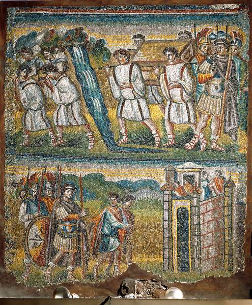 Scenes from The Book of Joshua: The Ark of the Covenant carried by seven priests across the Jordan, Joshua sends two spies to Jericho (mosaic)