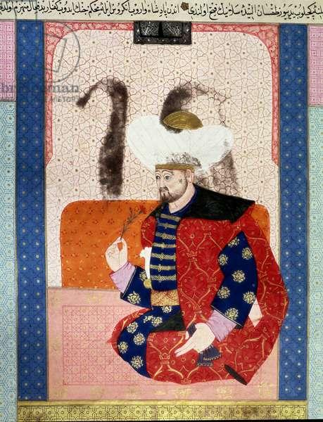 "Ottoman Empire: portrait of Bayazid I (Bajazet I) (circa 1354-1403) known as Yildirim (Lightning)"""" Miniature from the manuscript (Ms. 1973, folio 62a) """" Zubdatat-al-Tawarikh"" (Zubdat al-Tawarikh) (Creme of Stories) by historian Seyyid Loqman Ashuri 1538. Turkish and Islamic Art Museum Istanbul"