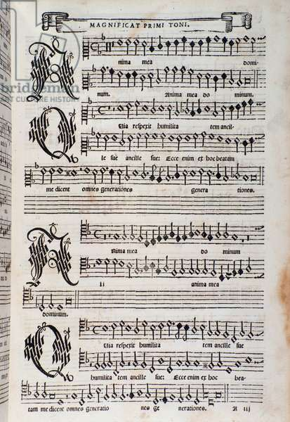 Sheet music page of the Magnificat by Giovanni Animuccia