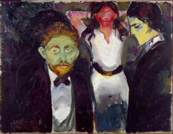 Jealousy Painting by Edvard Munch (1863-1944) 1907 approx. Sun. 75x97,5 cm Oslo, Kommunes Kunstsamlinger Munch-Museet (Musee Munch)