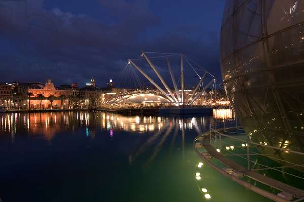 View of the porto antico, with the Bubble (bolla) by Renzo Piano (photography)